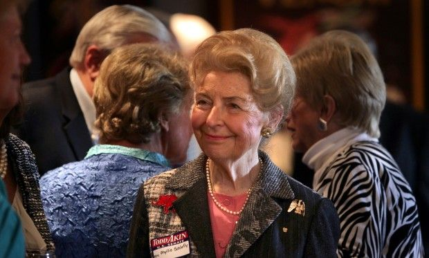 Phyllis Schlafly attended a lunch fundraiser for Congressman Todd Akin Monday, Sept 24, 2012 at Trattoria Branica in Kirkwood. Photo by Robert Cohen