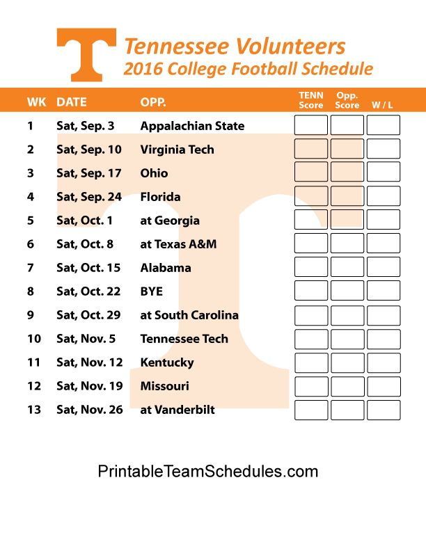 Tennessee Volunteers Football Schedule 2016. Score Updates & Printable Schedule Here - http://printableteamschedules.com/collegefootball/tennesseevolunteers.php