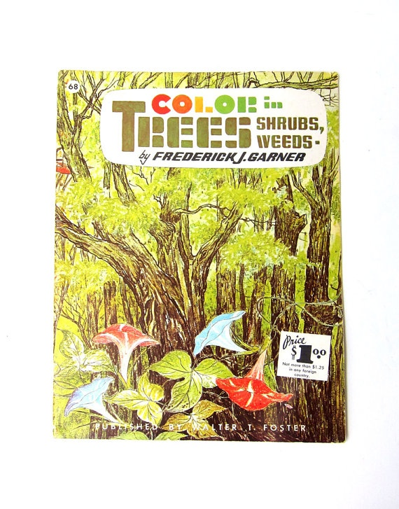 Vintage 1960s How to Draw series book Color in Trees by evaelena, $15.50