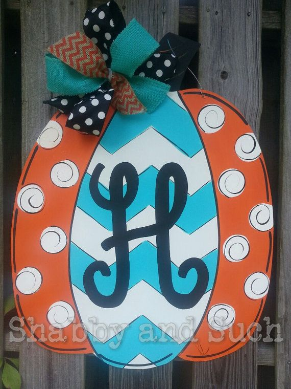 New Colors and Design!  Chevron Pumpkin Door Hanger Handpainted WoodDoor Decor Sign Includes Personalization TALL or WIDE Style Available!