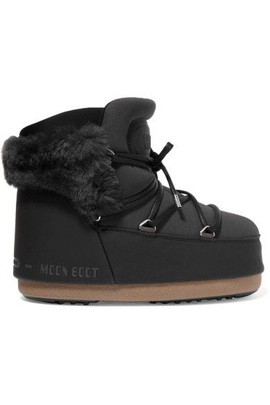 Sole measures approximately 25mm/ 1 inch Charcoal neoprene, black faux leather and faux fur Lace-up front Imported