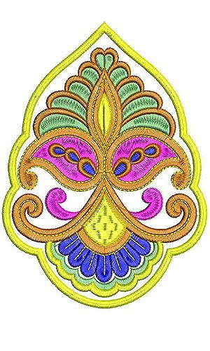 Crown Ornament Style Patch Embroidery Design