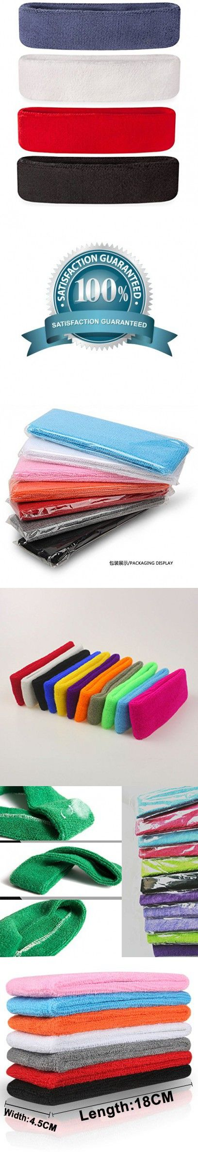 MAKLULU 4PCS Pack Colorful Sports & Outdoors Double Sweat Headbands Terry Cloth Moisture Wicking with 2 ply 100% cotton surface-01