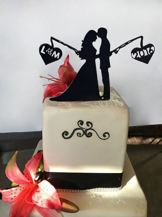 Fishing Cake Topper Black by FineLineEngraving on Etsy                                                                                                                                                                                 More