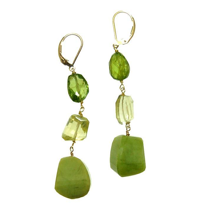 Green Opal with Peridot and Lemon Quartz Earrings (E2053MW) $200