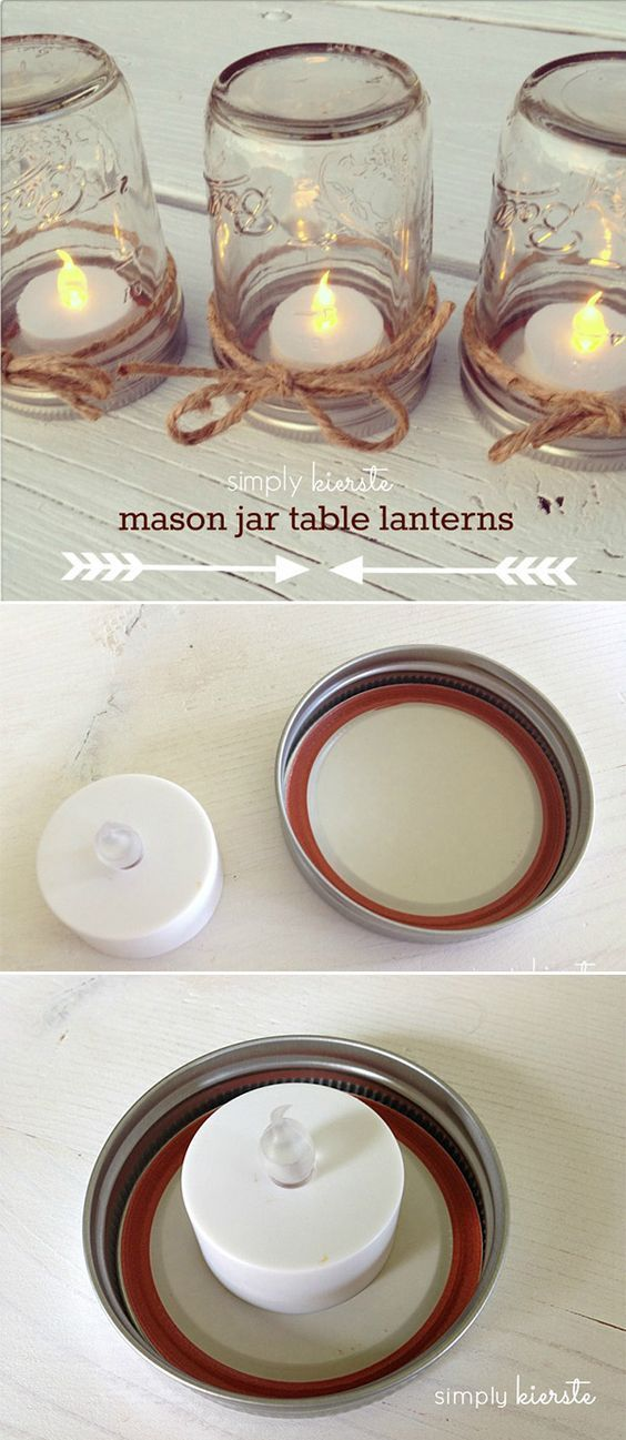 Easy DIY mason jar centerpieces with t lights