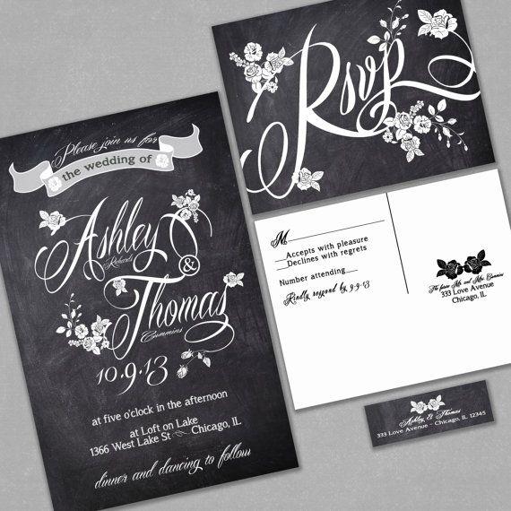 Chalkboard Wedding Invitation - Custom Typography and Roses - Black and White - Sample on Etsy, $1.00