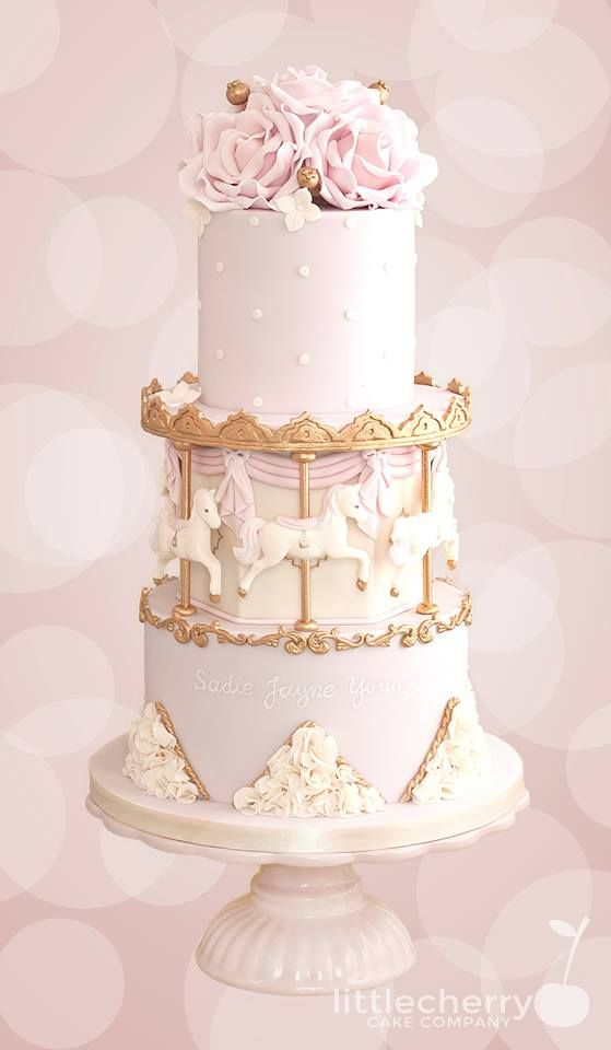 Pink, Ivory and Gold Carousel Christening cake