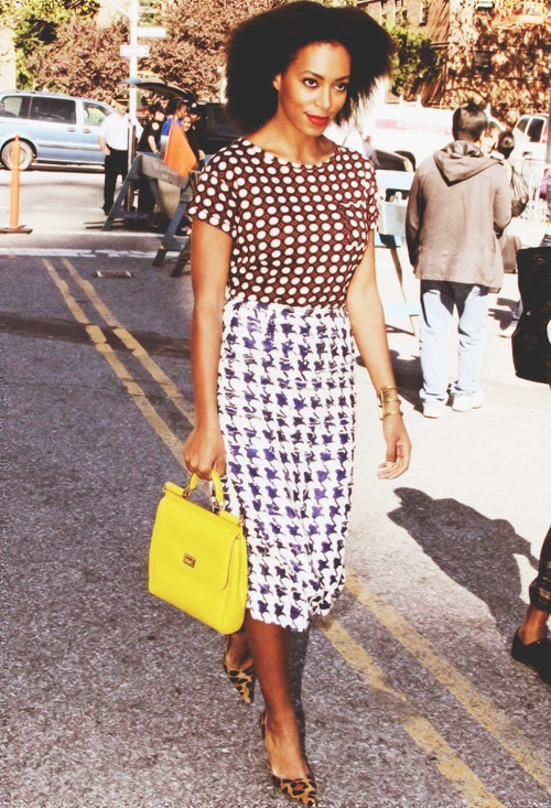 Solange Arriving at Lincoln Center for Mercedes-Benz New York Fashion Week. (9-11-12)