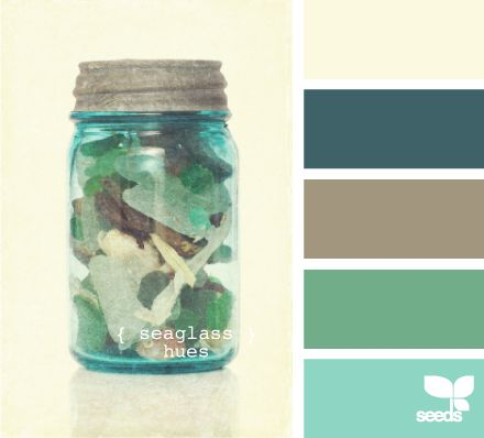 {seaglass hues} Love the 2nd color and the 5th.: Color Palettes, Color Schemes, Living Room, Seaglass Hues, Sea Glass