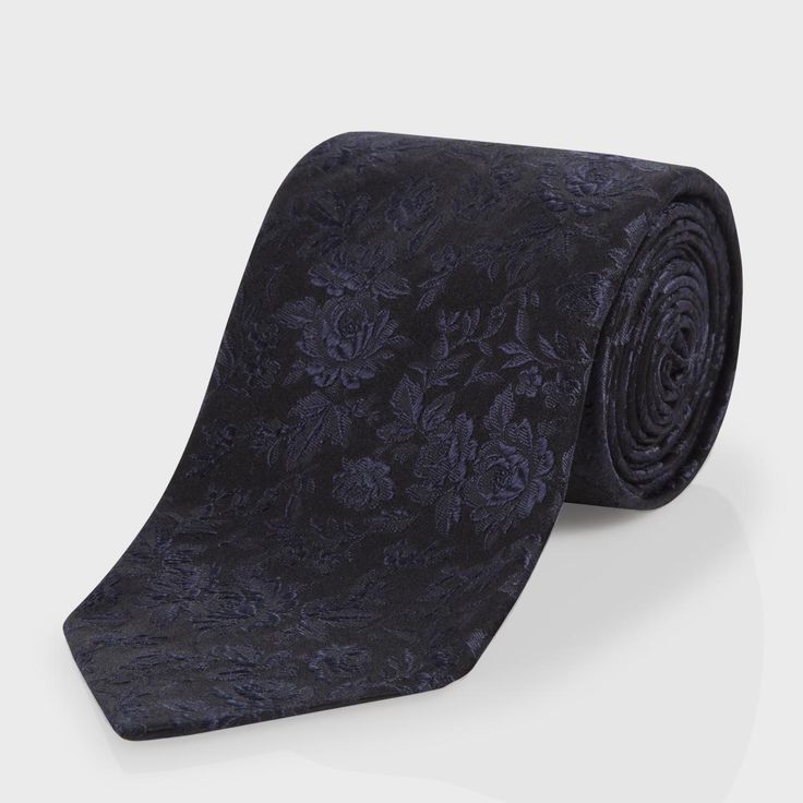 Paul Smith Men's Ties | Navy Floral Jacquard Classic Silk Tie