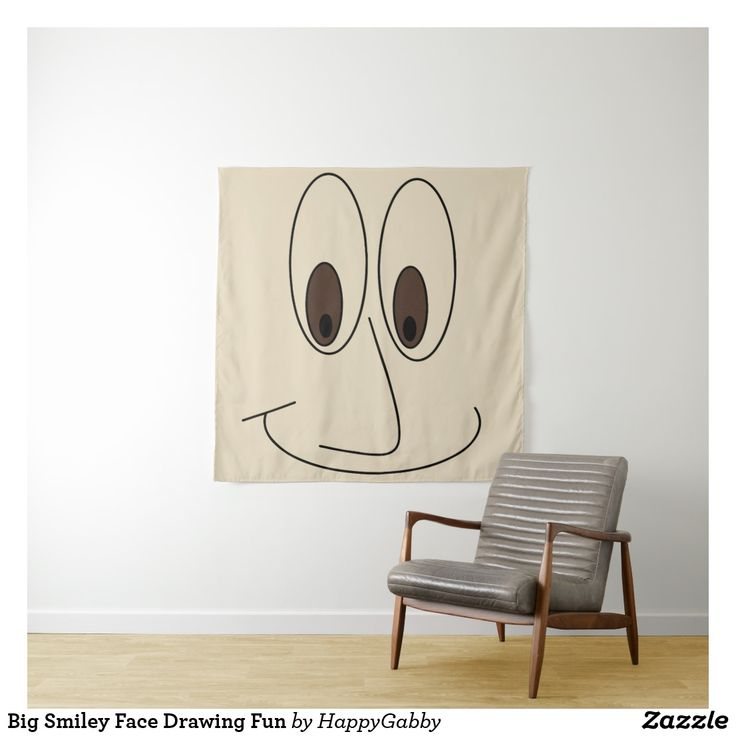 Big Smiley Face Drawing Fun Tapestry