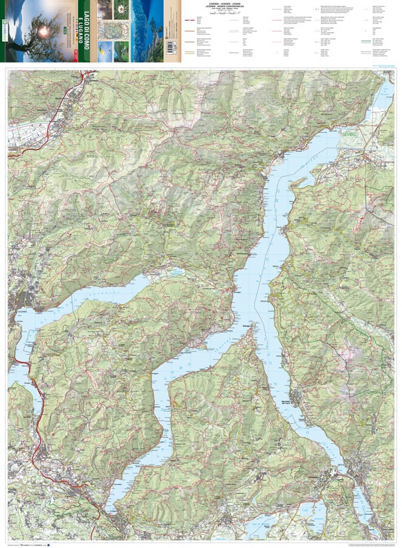 Hiking Trails Map of Como and Lugano Lakes - Carta Escursionistica del Lago di Como e Lugano