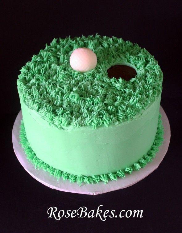 Rose Bakes | Golf Ball on the Green Birthday Cake | http://rosebakes.com