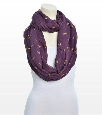 #DYNHOLIDAY Add some fun to your everyday look with this metallic deer print scarf!