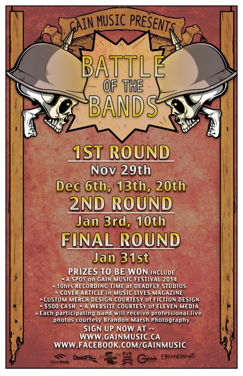 GAIN Music Battle of the Bands: Finals! will be at Van Gogh's Ear in Guelph, ON on Friday, January 31, 2014 - Tickets available at: http://www.ticketscene.ca/events/9463/
