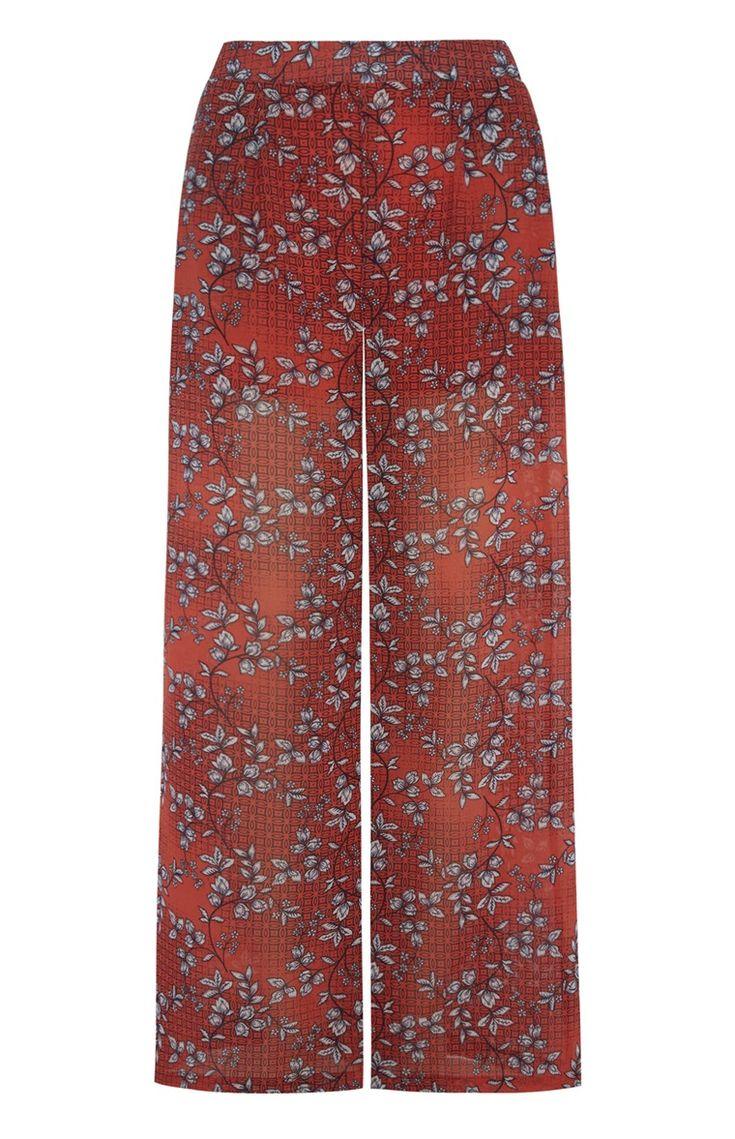 Chiffon broek met wijde pijpen en rode print