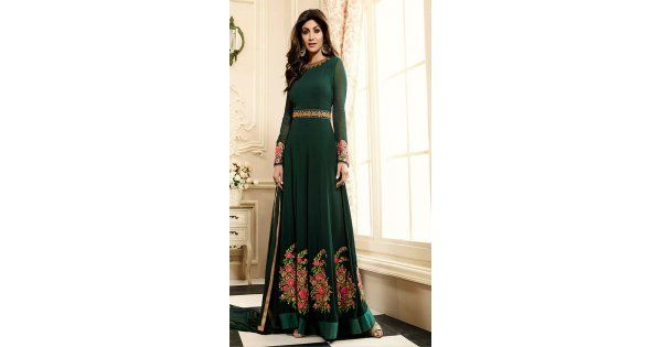 Celebrity Shilpa Shetty Georgette Party Wear Salwar Kameez in Green the lovely lace embroidery work a substantial attribute of this attire.comes with matching dupatta and matching churidar.