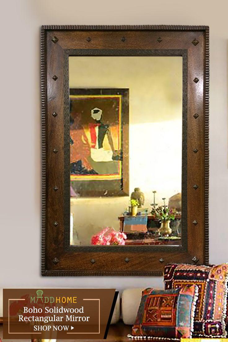 Boho Solidwood Rectangular Mirror