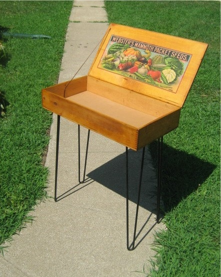 Shipping Crate TABLE Old Dovetail Wooden Box OLD Websters Mammoth Packet Seeds Nice advertising with vintage hair pin legs Midcentury