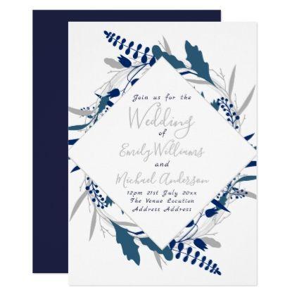 Blue White Wedding Invite Elegant Floral Wreath - spring wedding diy marriage customize personalize couple idea individuel