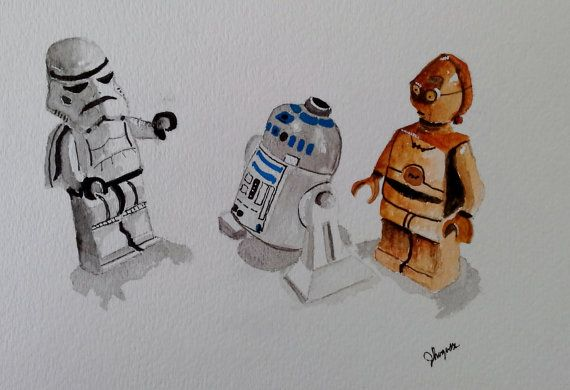 Original Watercolor Painting Star Wars Legos C3PO by pinetreeart, $57.00