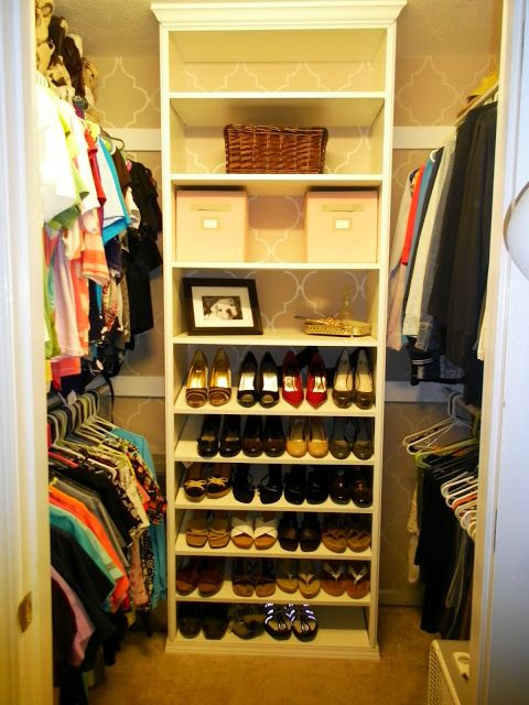 DIY Closet Organizer, painted and stenciled wall. Oooh! This is about the same size as our closet... Loving this idea!