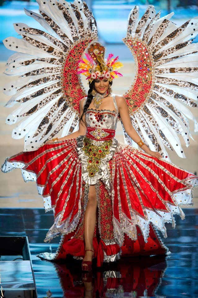 Miss Indonesia Maria Selena's National Costume Presentation at Miss Universe 2012. The theme of the costume is Garuda Pancasila this year.