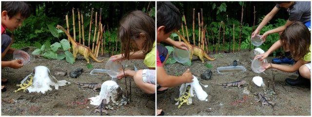 Fabriquer des volcans et les voir en éruption dans notre cour, c'est pas mal impressionnant :-)!