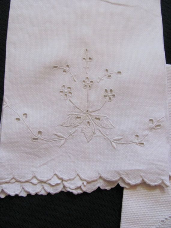 2 Vintage Solid White Cotton Huck Linen Kitchen by TotallyLinens