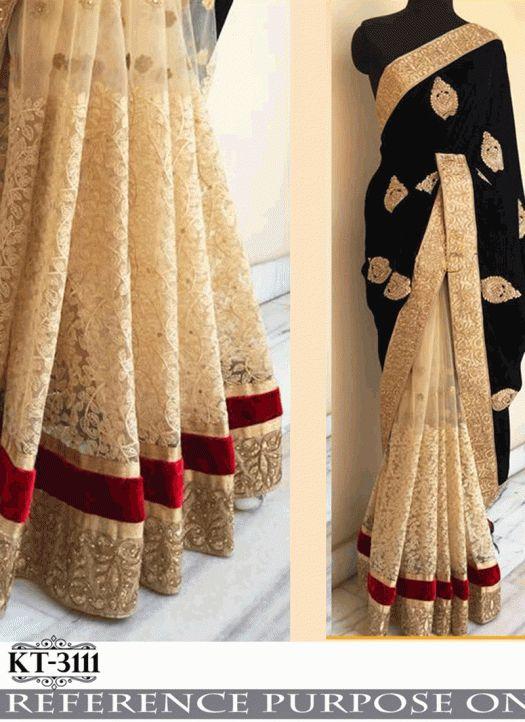 Black And Cream Designer Saree