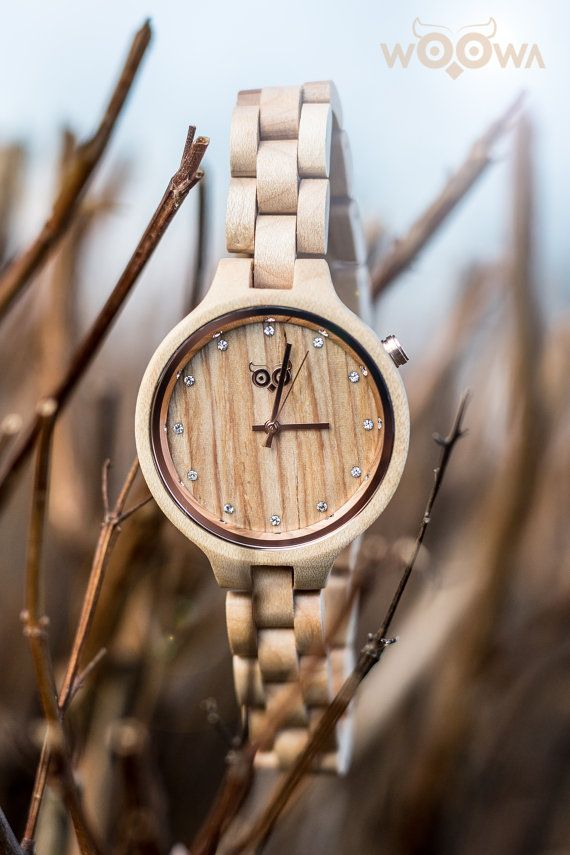 Elegant Handmade Women Wood Watches With Czech Design Made From Maple With 12 Swarovski Crystals