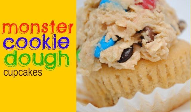 Monster Cookie Dough Cupcakes!!!: Cookies Dough Dips, Cookies Dough Cupcakes, Cupcakes Liner, Desserts Recipes, Cookie Dough, Cupcakes Recipes, Cookies Exchange, Monsters Cookies Dough, Cupcakes Rosa-Choqu