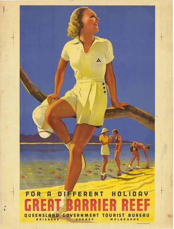 "Vintage Tourism Posters from the 1930's - ""Great Barrier Reef Different Holiday 1939."""