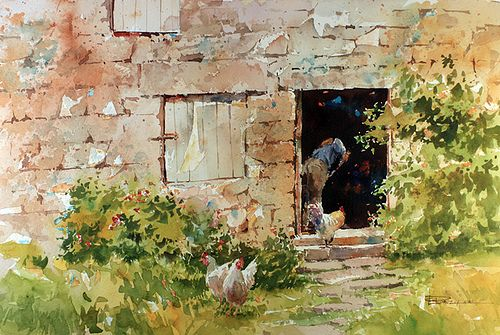 I saw this farm in cornwall England. All of the buildings were made of stone. It was lovely.  Watercolor 14 X 22