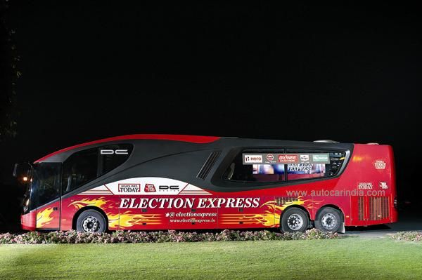 This innovative bus, designed by DC, is on an 8000km drive around India covering the ongoing elections.