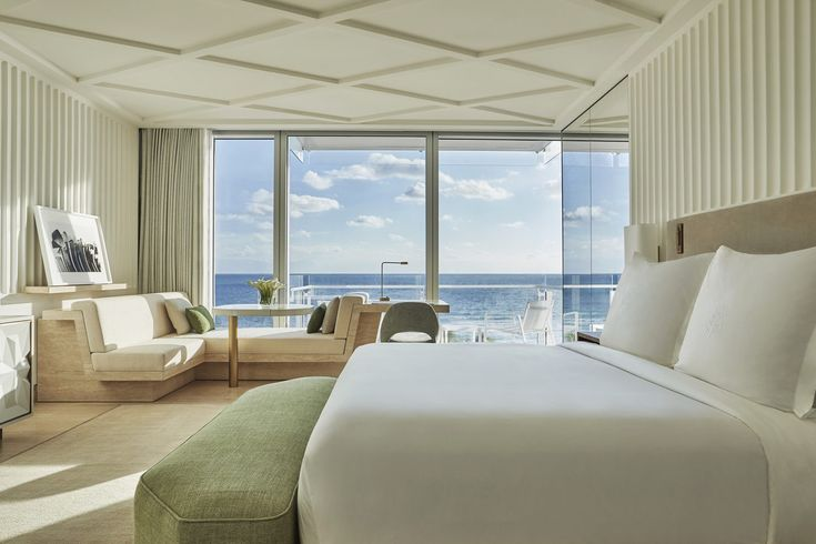 Four Seasons Hotel at The Surf Club, Surfside, Florida Surfside, Florida City Hotels Luxury Miami Miami Beach sofa property Architecture living room Suite home penthouse apartment window treatment daylighting interior designer Bedroom
