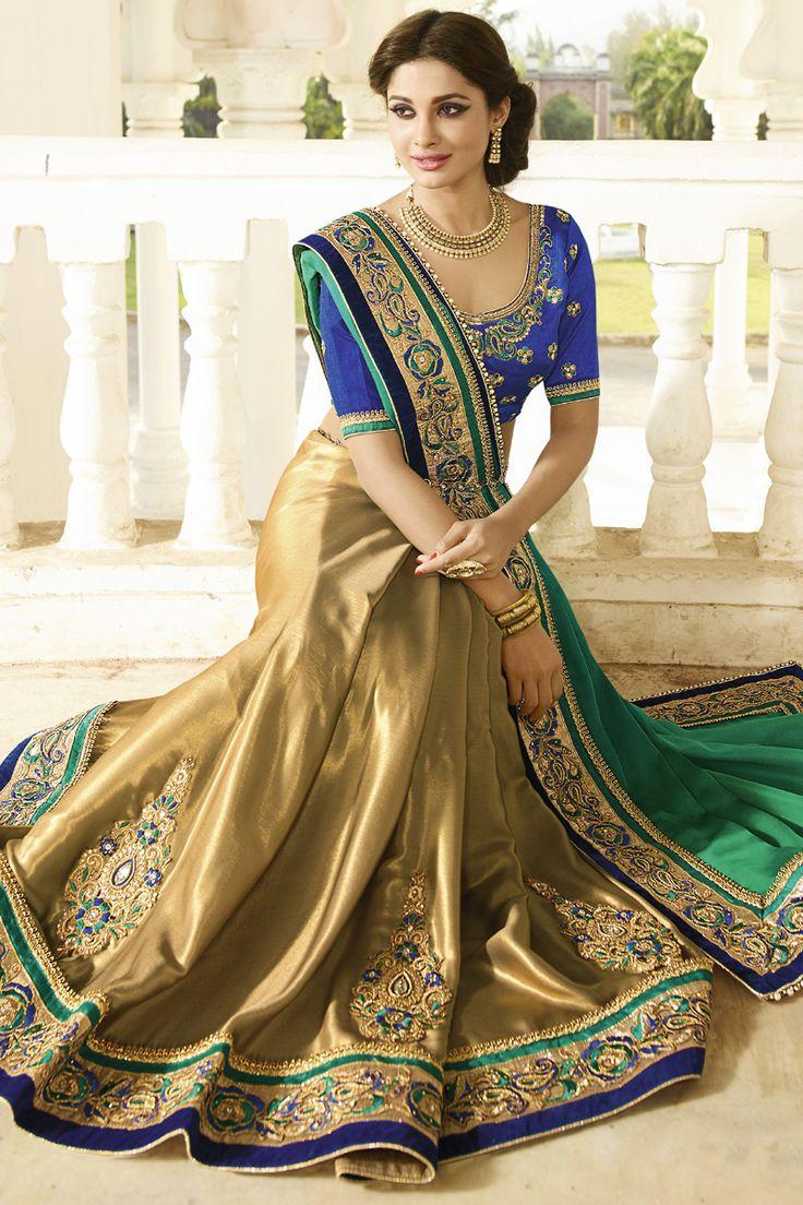 GREEN-BROWN GEORGETTE CREPE HALF HALF DESIGNER WEDDING SAREE at Lalgulal.com. To Order :- http://goo.gl/1M4VF5 To Order you Call or Whatsapp us on +91-95121-50402. COD & Free Shipping Available only in India.