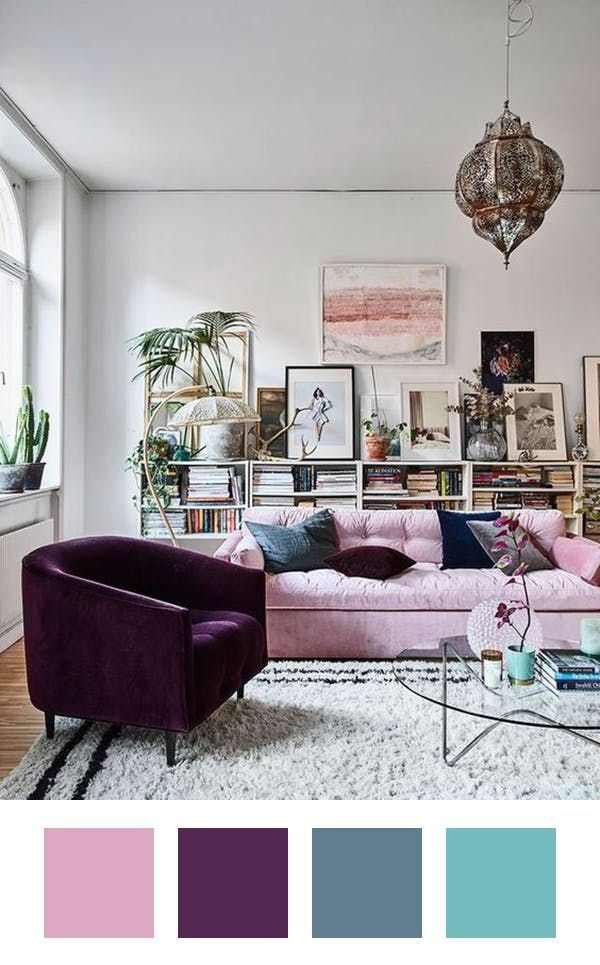 """How to Make Pink Work in Your Home (Without the '80s Flashbacks) — Palette Pleaser  Inspiration File this living room from Elle Decoration Sweden under """"enviable spaces I wish I lived in"""". The home of one of the publication's bloggers, Amelia Widell (who runs interior design company Meli Meli) feels eclectic yet intentional.  Palette A pink that nears lilac pairs beautifully with a deep eggplant (especially in luscious fabric like velvet). I love that Amelia brought in varying shades of blue…"""