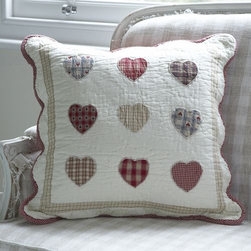 Patchwork Hearts Reds Cushion