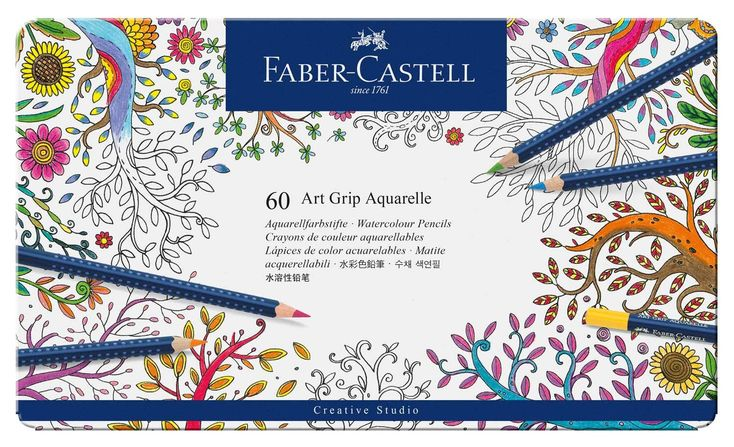Faber-Castell Art GRIP Aquarelle Watercolor Pencils, tin of 60