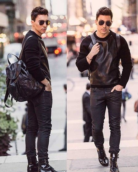 Prada Backpack, Saint Laurent Jeans, Louis Vuitton Boots, Saint Laurent Sunglasses