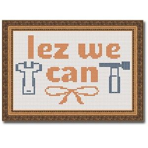 Fuldesign cross stitch embroidery pattern gay embroidery LGBT Lez we can