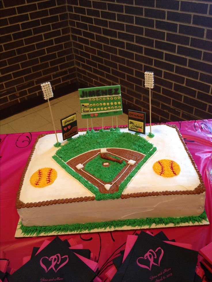 Softball field cake i want this for my birthday!!