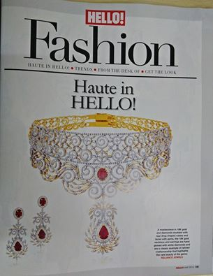 As seen in HelloFashion! Haute In Hello! A masterpiece in 19k gold and diamonds studded with tear drop shaped rubies and laced with gems, the 18k gold necklace and earrings are hand graved with white diamonds and are a classic example of refined craftsmanship that highlights the rare beauty of the gems. Reliance Jewels Be The Moment www.reliancejewels.com #reliancejewels #bethemoment #gold #earrings #necklace #diamonds #hellofashion #jewellery #magazine…