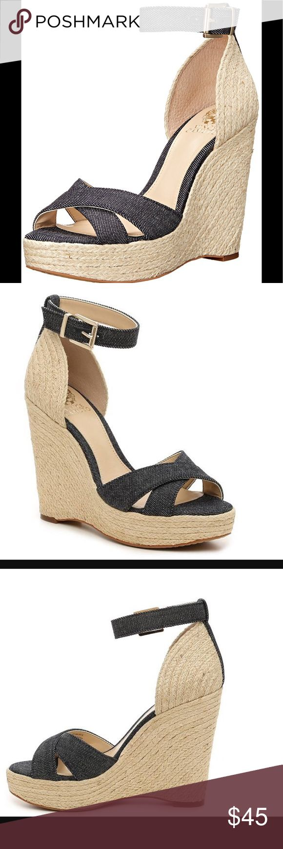 *NEW* Vince Camuto Maurita Espadrille Wedge Sandal This espadrille wedge is great for a busy, on-the-go lifestyle for all you chic and modern women. A must have for your sundress or Capris. Super comfy with the wedge heel, too. Heel Height: 5 Heel Type: Wedge Material: Denim Vince Camuto Shoes Espadrilles