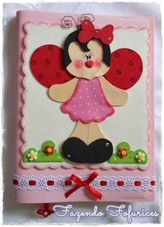 caderno decorado em eva joaninha - Pesquisa Google