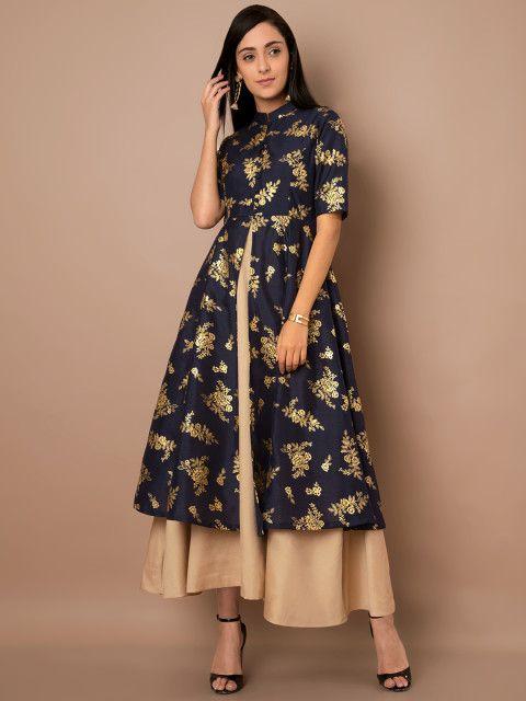3c6959db6ef Buy INDYA Women Navy Blue Printed Anarkali Kurta With Skirt - Kurtas for  Women 6805397