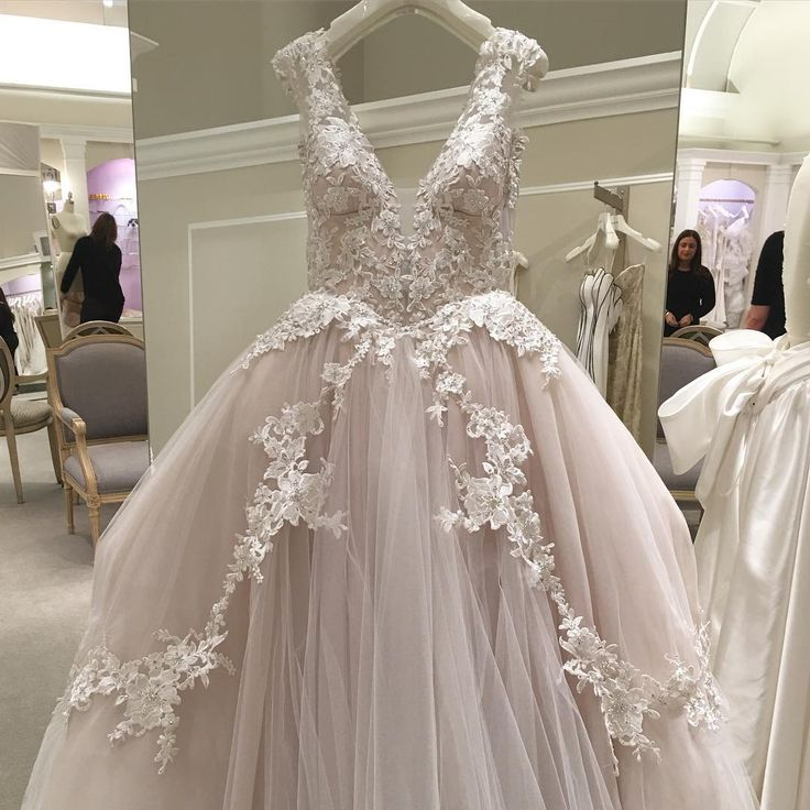In three words: #Blush #BallGown #Lace