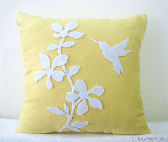 Spring Blossom Humming Bird Yellow And White Pillow Cover.   Pretty Decorative Floral Appliques